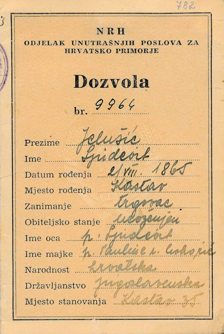 Dozvola za višekratni prijelaz granice Ljudevita Jelušića, Sušak, 1. listopada 1946.