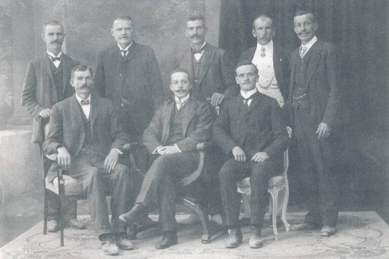 """Committee of the """"Domoljub"""" Association, Rukavac, 1912, photograph taken from a book, Source: Franjo Šepić Bertin, """"Pregled povijesti pripomoćnog i poučnog društva Domoljub u Rukavcu"""", Liburnijske teme 9, Matulji, 1996"""