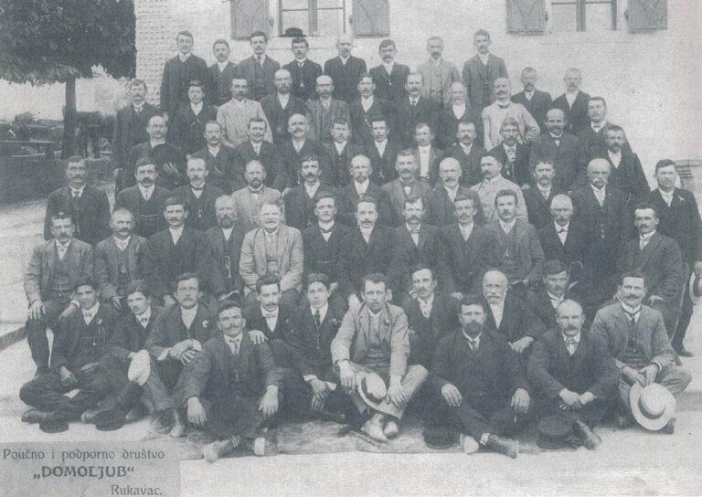 """Members of the """"Domoljub"""" Association At the Kinkela′s, 1912, photograph taken from a book, Source: Franjo Šepić Bertin, """"Pregled povijesti pripomoćnog i poučnog društva Domoljub u Rukavcu"""", Liburnijske teme 9, Matulji, 1996"""