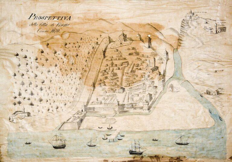 Pogled na grad Rijeku 1670., druga pol. 19. stoljeća, kopija prema: Giorgio Genova, Rijeka, 1670.