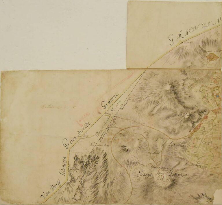 Cadastral map of Ledenice in the Krajina area, 18th century