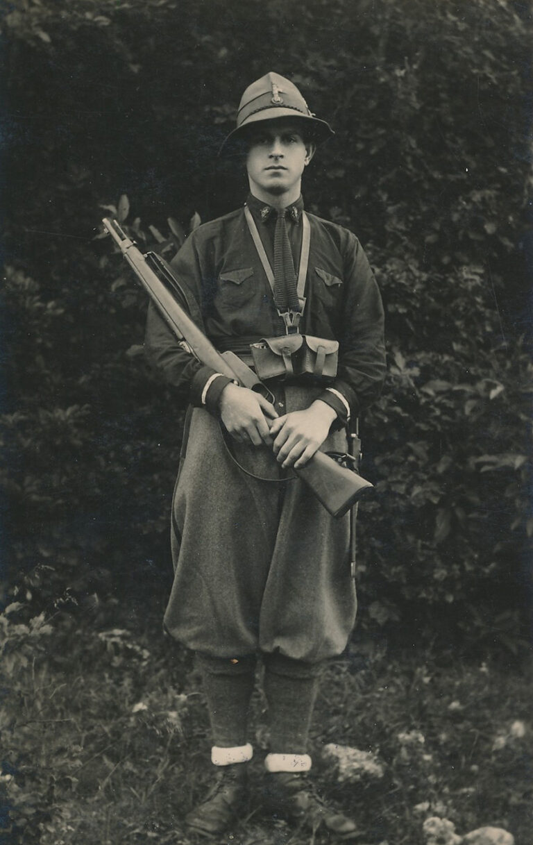 Portrait of a member of the Italian financial guard in the 1940s