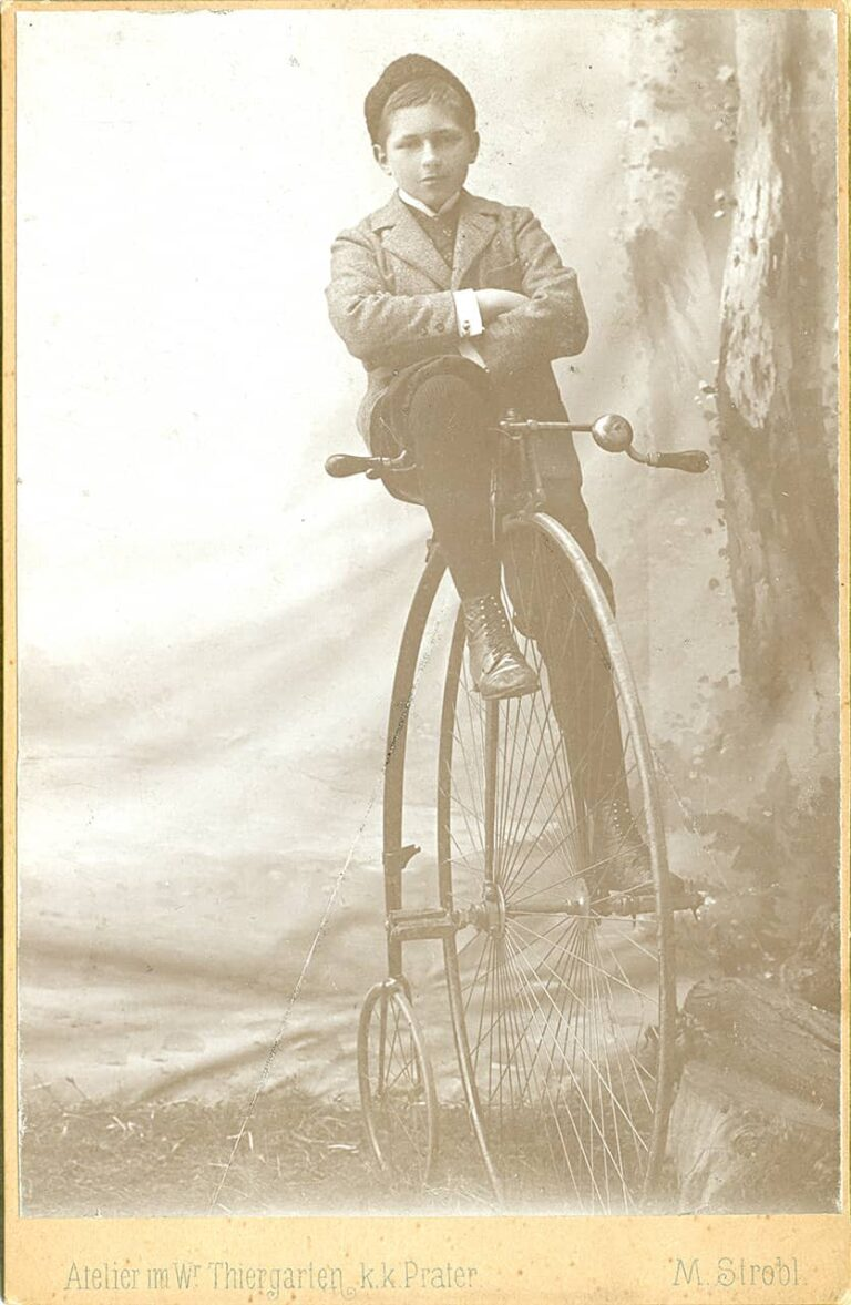 Boy on a bicycle ready to go, Marianne Strobl, Vienna, around 1890