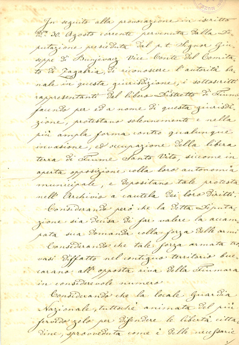 Proposal of a peace treaty between the City Council of Rijeka and Croatia, 1848