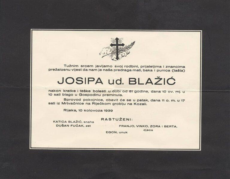 Osmrtnica Josipe ud. Blažić, Rijeka, 1939.