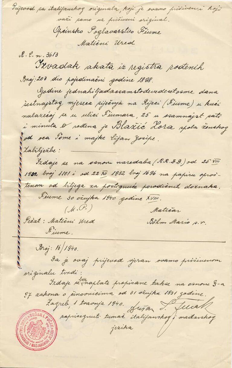 Izvadak iz registra rođenih Zore Blažić, izdan 1. travnja 1940.
