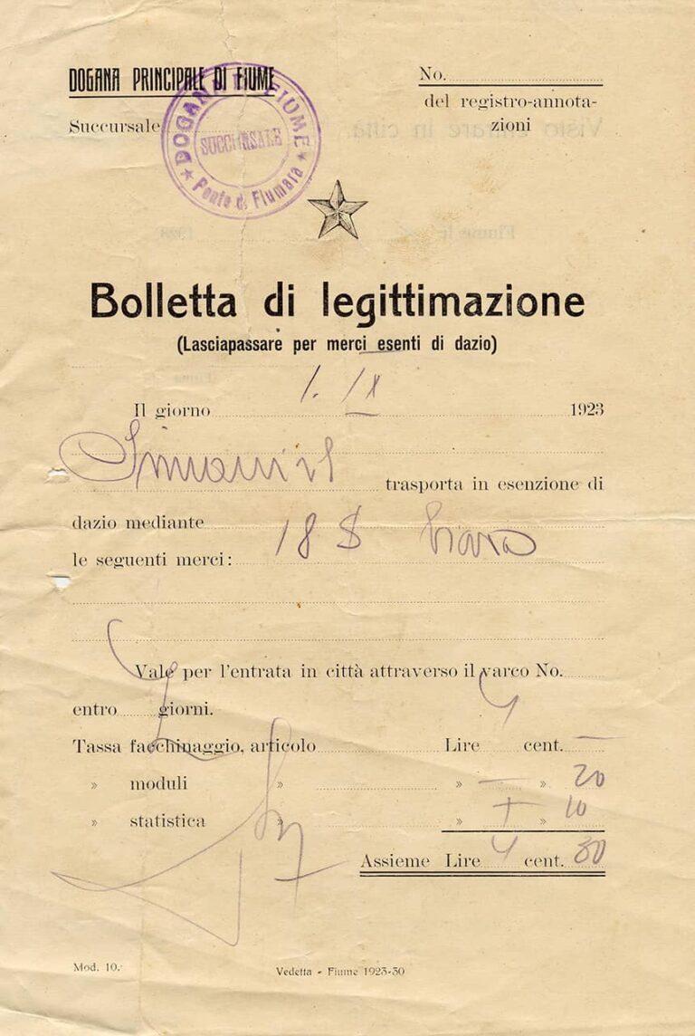 Potvrda o carinjenju robe, Rijeka, 1. rujna 1923.