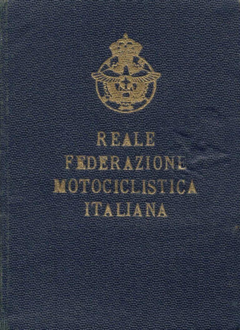 Royal Italian Motorcycle Federation membership card, 1930