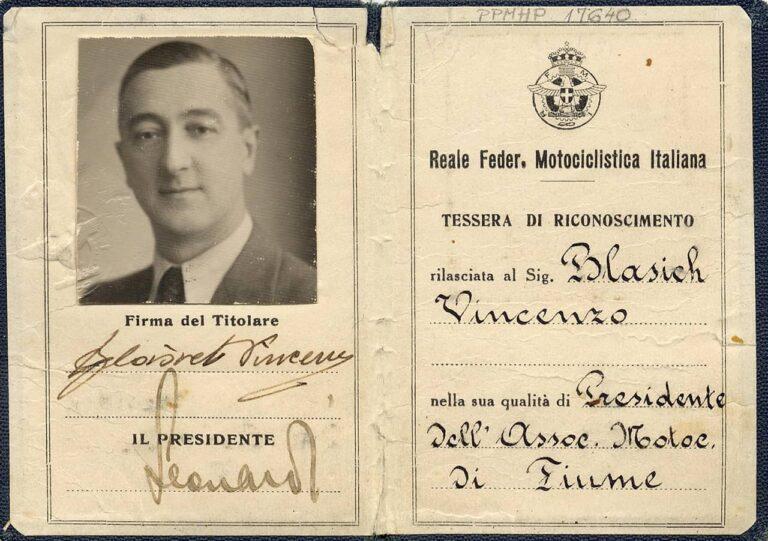 Innerside of Royal Italian Motorcycle Federation membership card, 1930