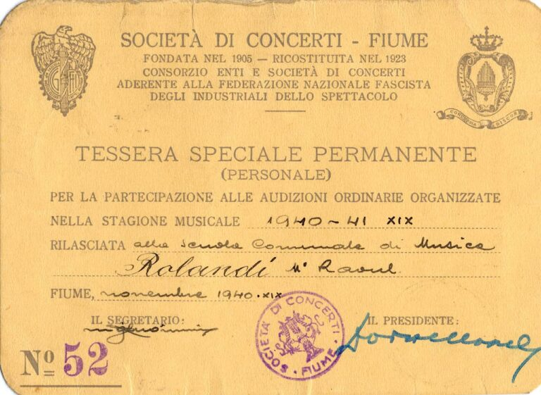 Iskaznica Koncertnog društva Rijeka, 1940.