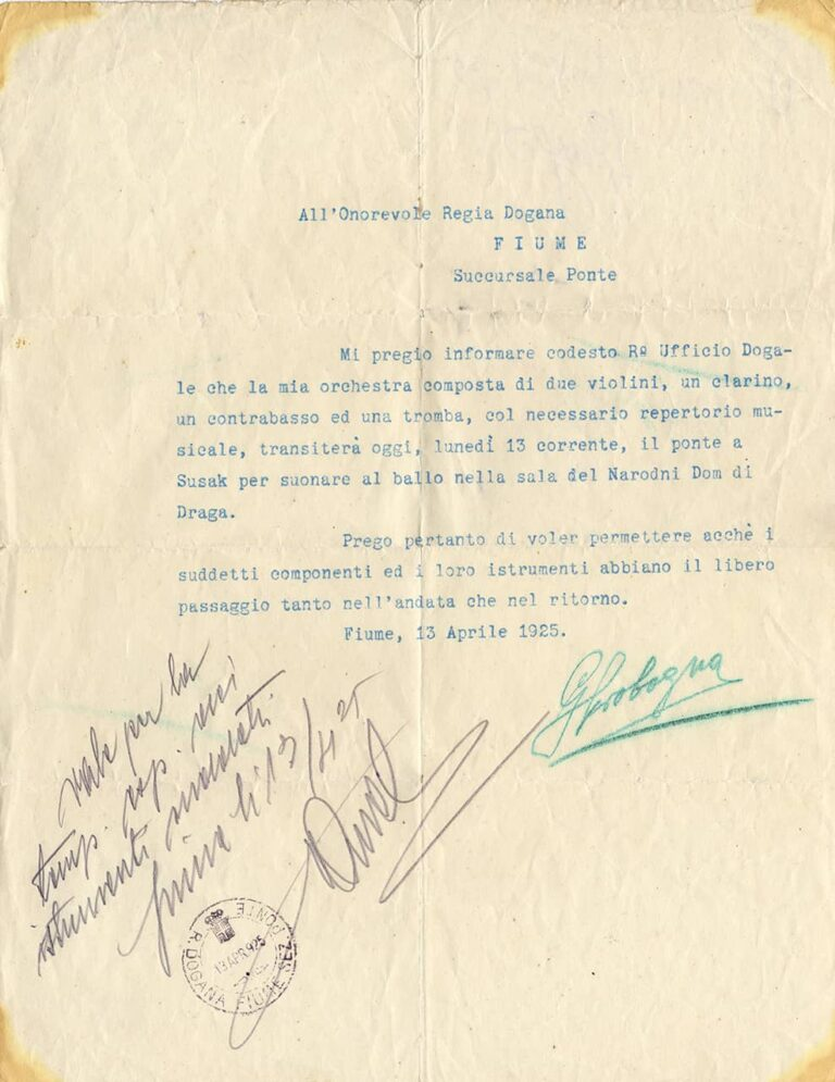 Dozvola za prijelaz granice glazbenika radi nastupa Sušak-Rijeka, Rijeka, 13. travnja 1925.