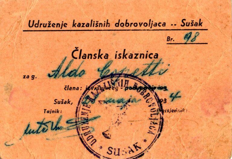 Članska iskaznica kazališnih dragovoljaca Sušak, 1934.