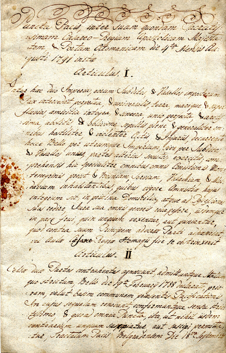 Peace treaty between the Ottoman Empire and the Habsburg Monarchy, 1791
