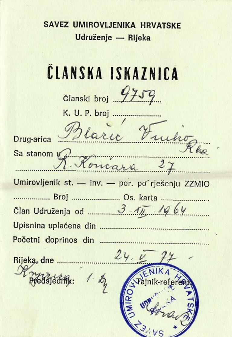 Union of pensioners membership card, Rijeka, 1977