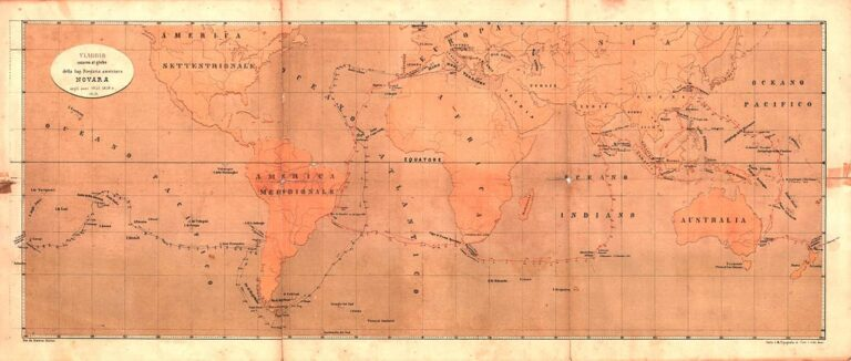 Novara ship travel map, Maximilian Muller, Vienna, middle of the 19th century