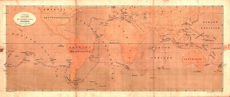 Karta putovanja broda Novara, Maximilian Muller, Beč, sredina 19. stoljeća
