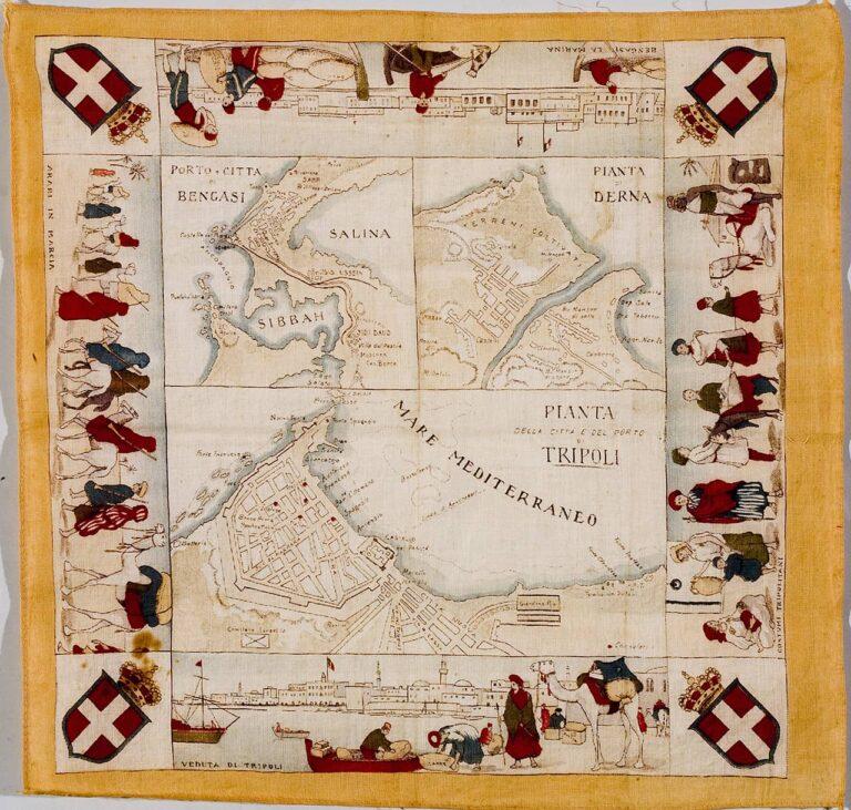 Marama/pomorska karta Sredozemlja s prikazima trgovačkih putova, Italija, prva pol. 20. stoljeća