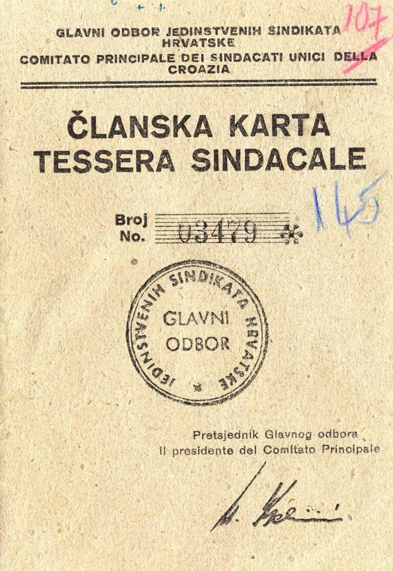 Croatian Trade Union membership card, 1949