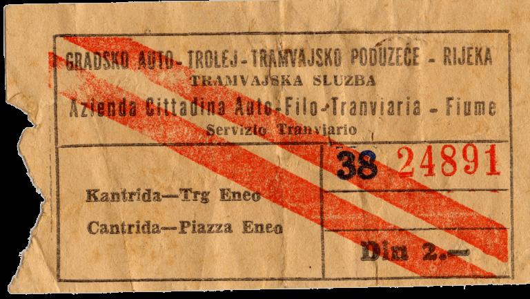 Karta za riječki tramvaj, 1950. - ih
