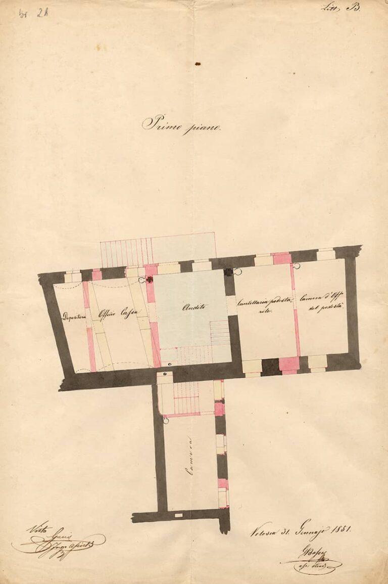 Tlocrt prvog kata dviju općinskih kuća u Kastvu, Volosko, 3. svibnja 1851.