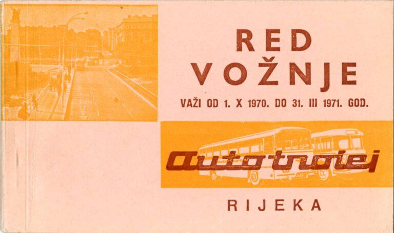 Red vožnje, Autotrolej, Rijeka, 1970.