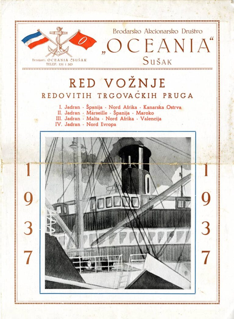 Timetable of regular tradelines, Oceania Shipping joint stock company, Sušak, 1937