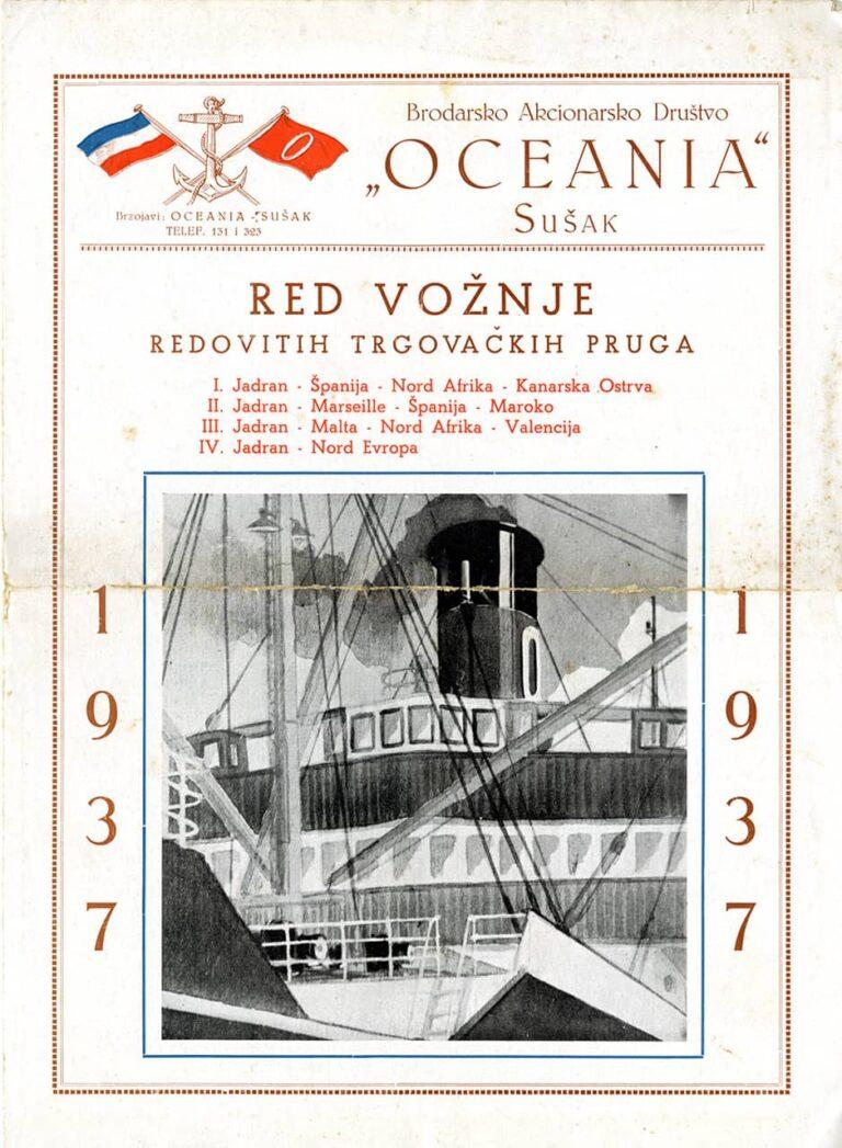 Red vožnje redovitih trgovačkih pruga, Brodarsko akcionarsko društvo Oceania, Sušak, 1937.