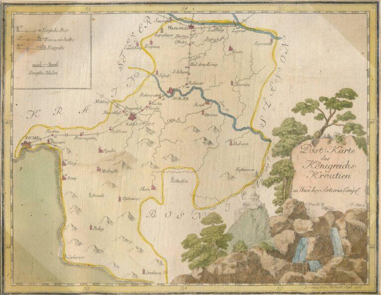 Postal map of the Kingdom of Croatia, 1786