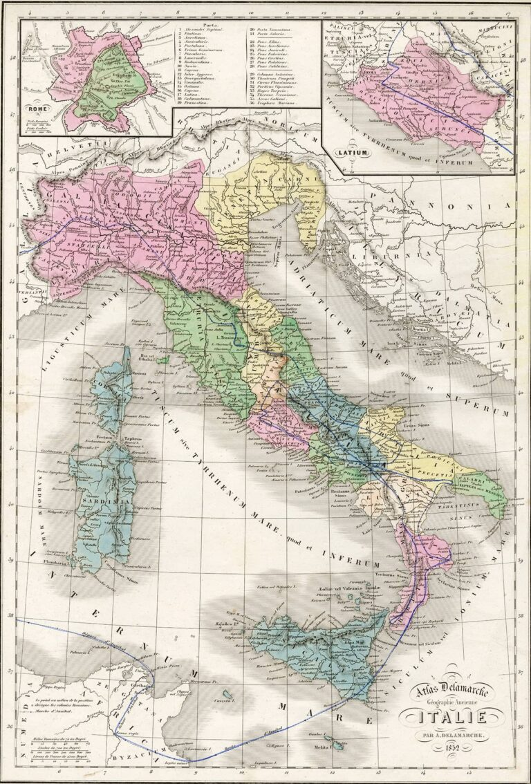 An overview of ancient (Roman) Italy with Illyrian lands and the ancient Rome plan, 1852