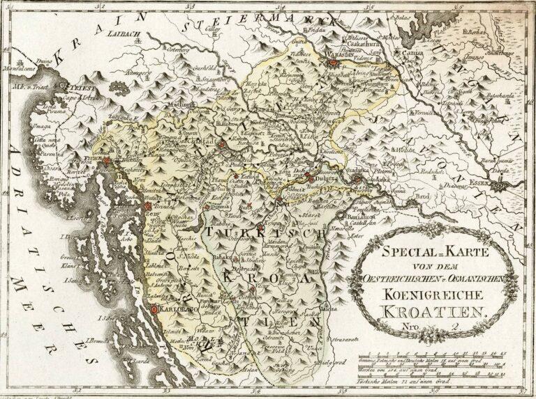 The Austrian-Ottoman border of the Kingdom of Croatia with marked so-called Turkish Croatia, 1791