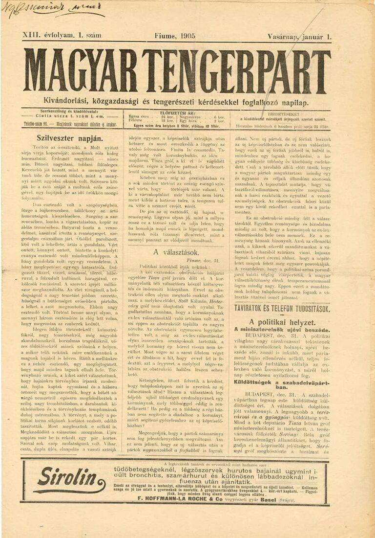 Magyar Tengerpart, 1 January 1905
