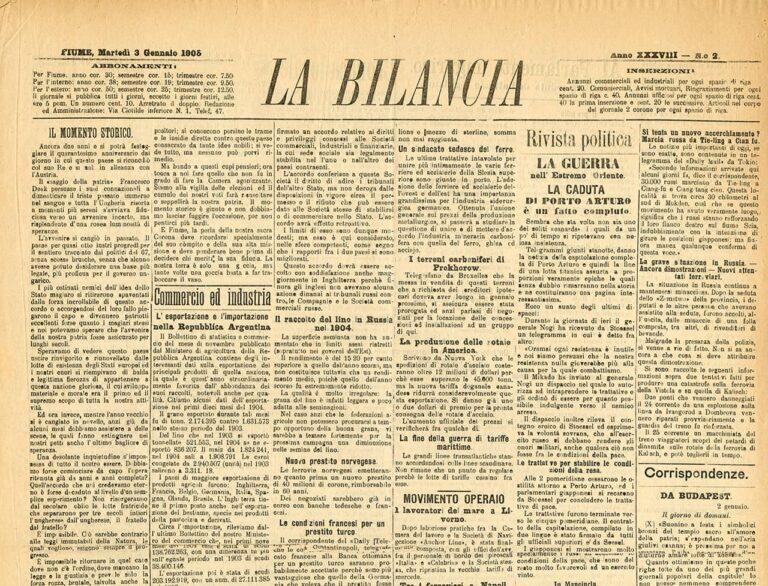 La Bilancia, 23. siječnja 1905.