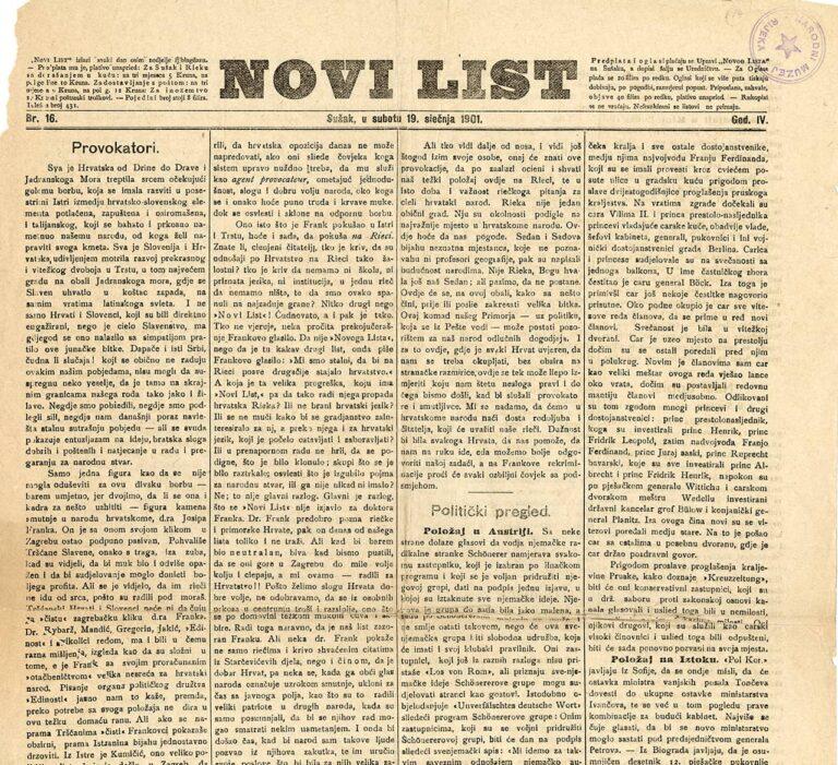 Novi list, 19. siječnja 1901.