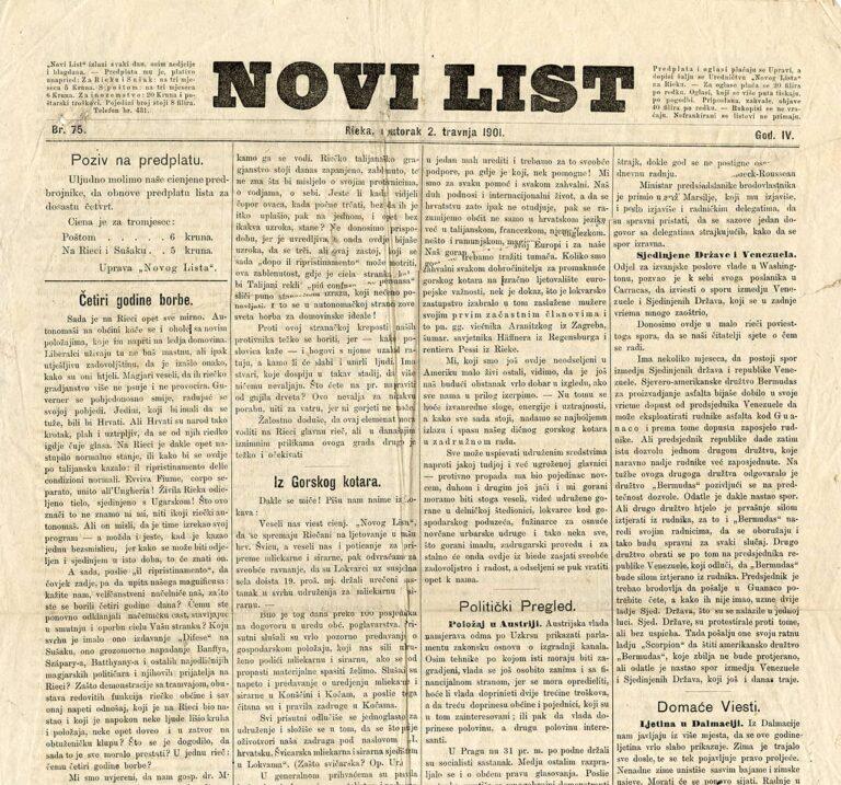 Novi list, 2. travnja 1901.