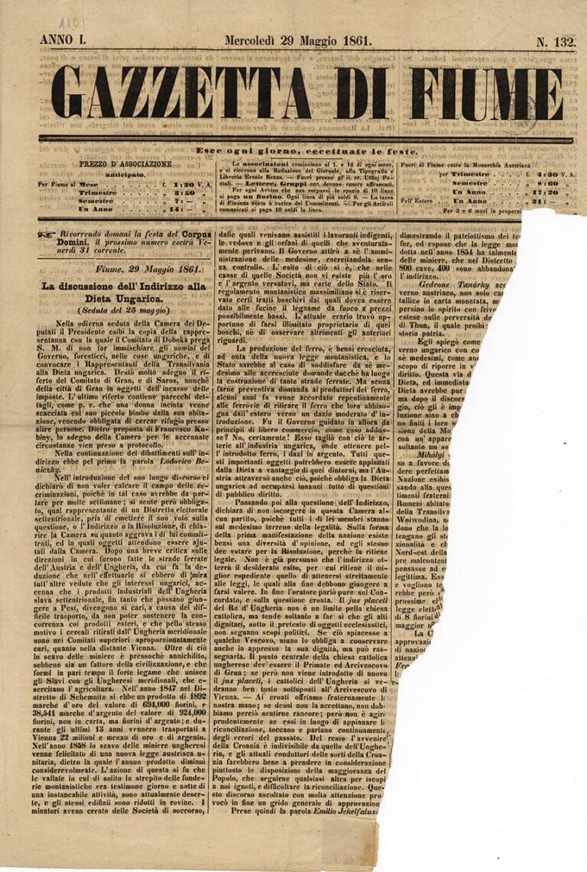 Gazzetta di Fiume, 29. ožujka 1861.