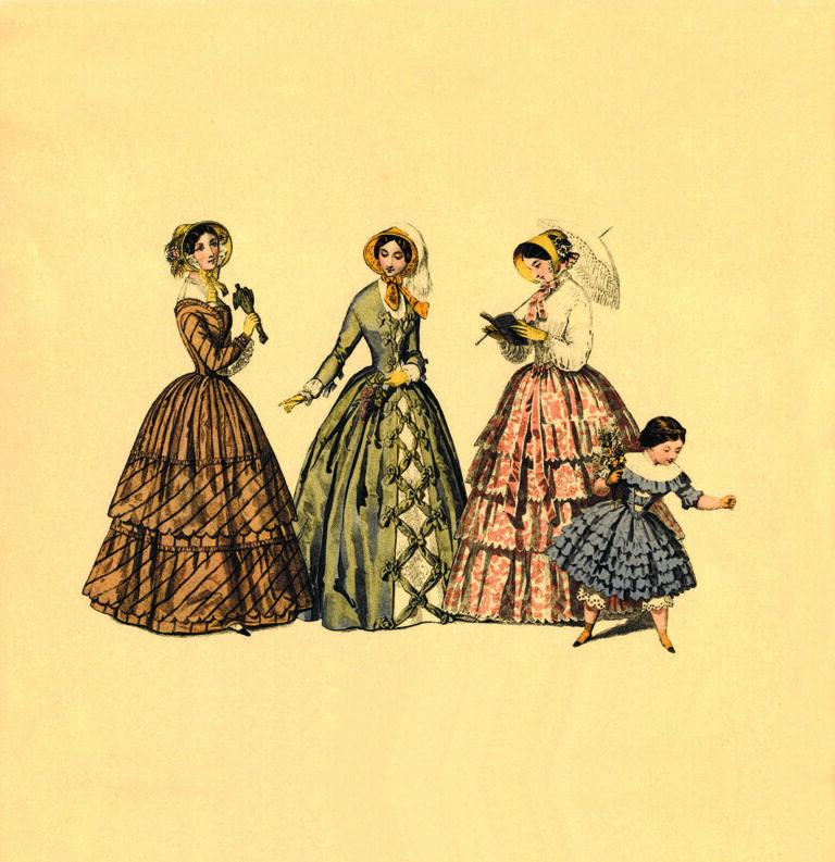 Modni list, ženska odjeća 1848., Collection Geszler, Budimpešta, 1898.