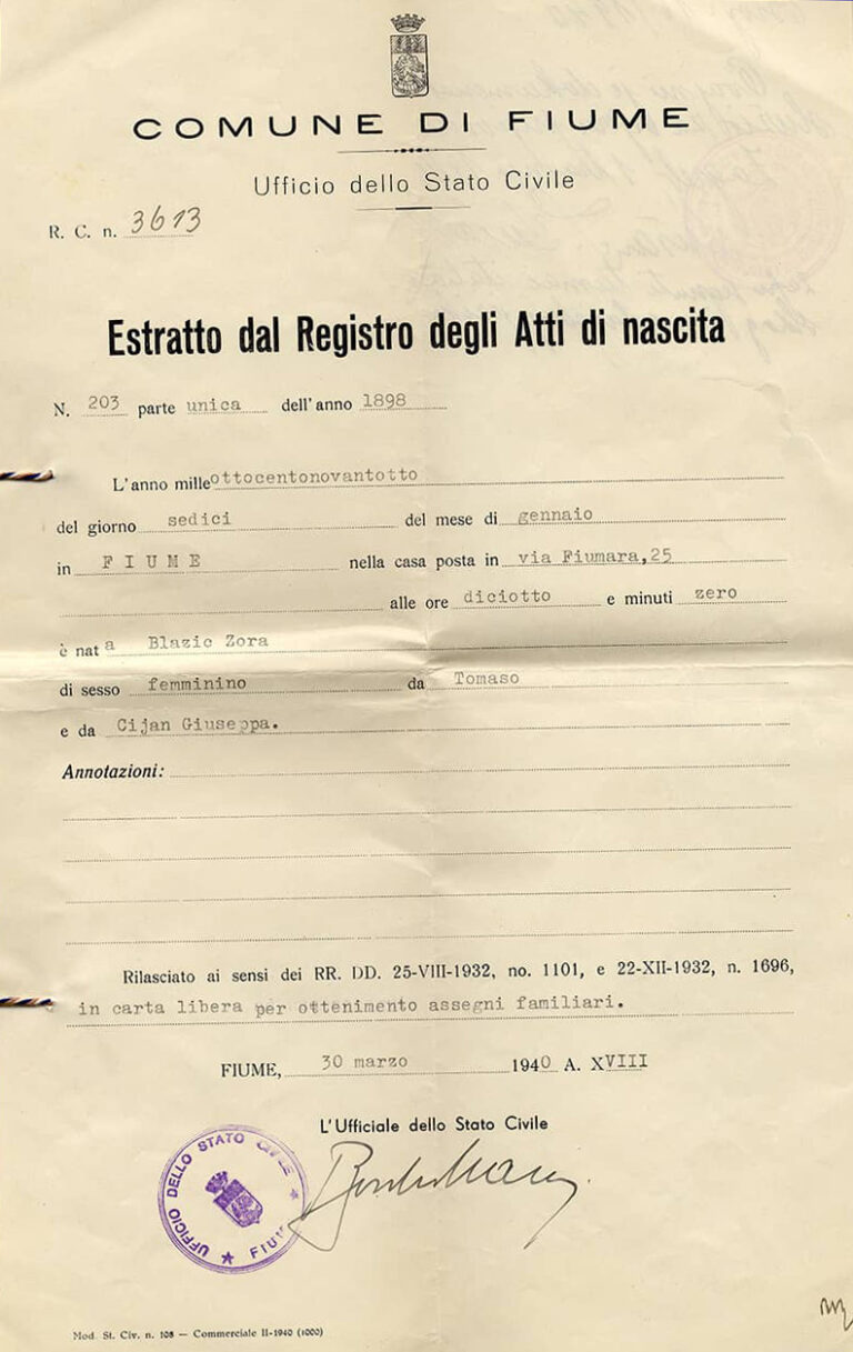 Excerpt from the Birth Register for Zora Blažić, issued on 1 April 1940