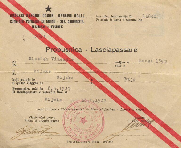 Lasciapassare, a permit to cross the Sušak / Rijeka border, 1947