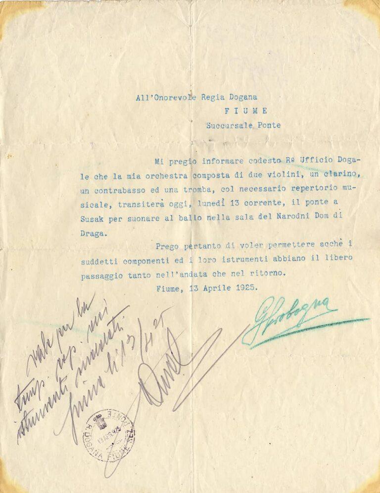 Musical performance permit to cross the Sušak / Rijeka border, Rijeka, 13 April 1925