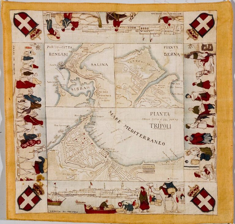 Scarf / Naval chart of the Mediterranean with trade routes, Italy, first half of the 20th century