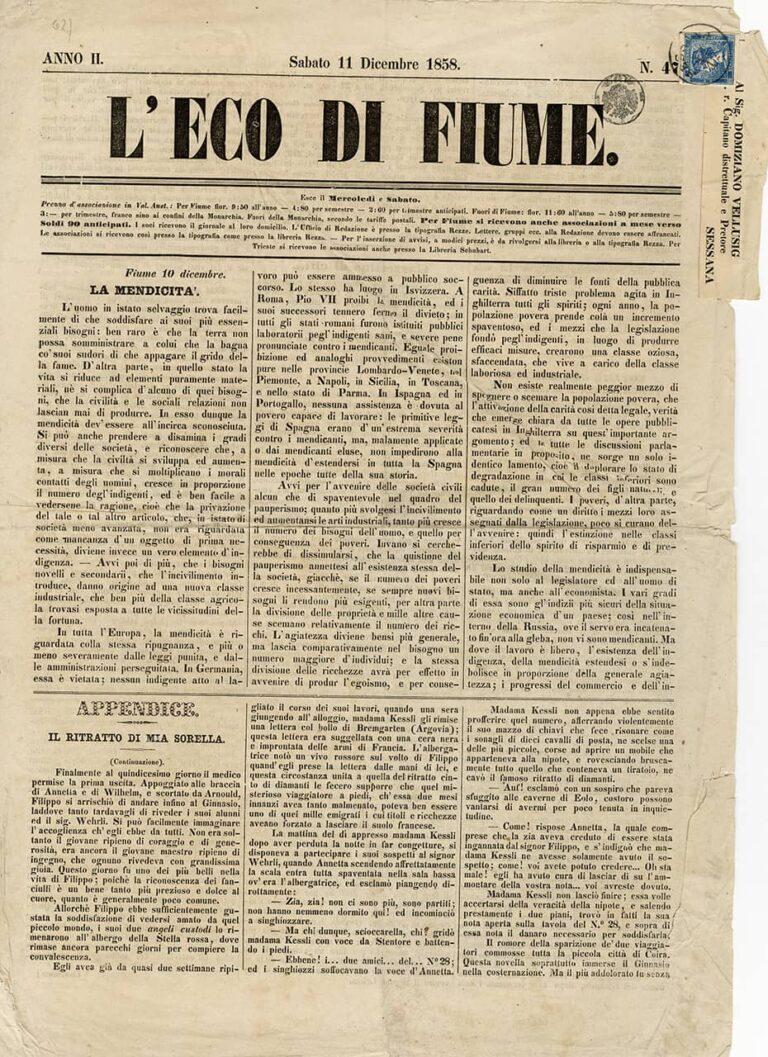 L' Eco di Fiume, 1858